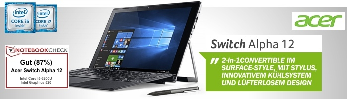 Aspire Switch Alpha 12 - 2-in-1 Convertible im Surface Style mit passivem Kühsystem