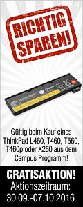 Mehr Power! Zweiter Gratisakku beim Kauf eines ThinkPad L460, T460, T460p, T560 oder X260 aus dem Campus Programm!