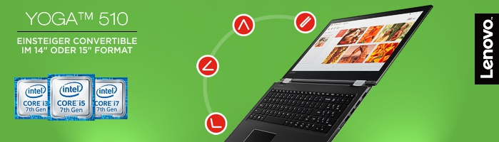 Lenovo Yoga 510 - Einsteiger Convertible mit den Yoga-typischen Nutzungsmodi