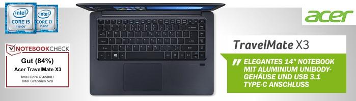 Acer TravelMate X3 - Smarter Begleiter im Aluminium Unibody Design