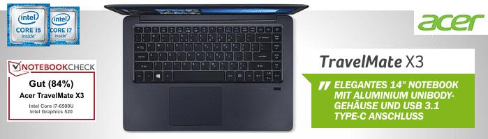 Acer TravelMate X349 - Zuverlässiger Begleiter im Aluminium Unibody Gehäuse