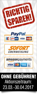 Wir übernehmen im Aktionszeitraum 23.03. bis 30.04.2017 die Gebühren für Amazon Payments, Paypal sowie Sofortüberweisung!