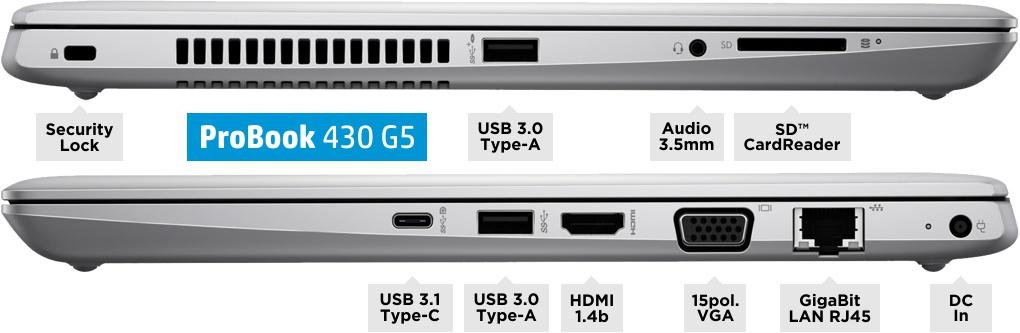 Anschlüsse des HP ProBook 430 G5