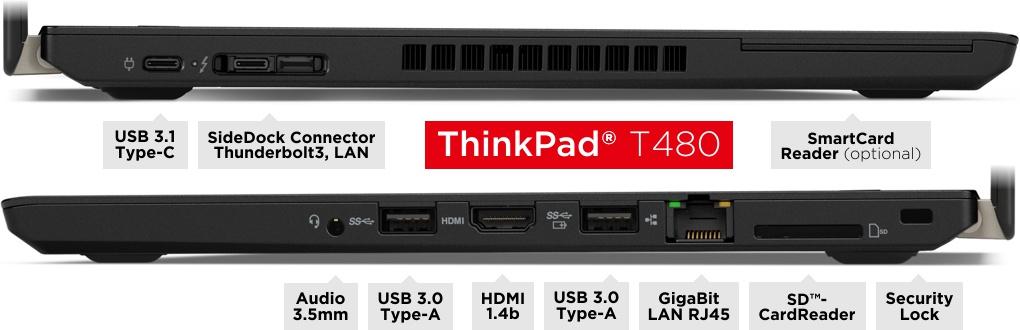 Anschlüsse des ThinkPad T480