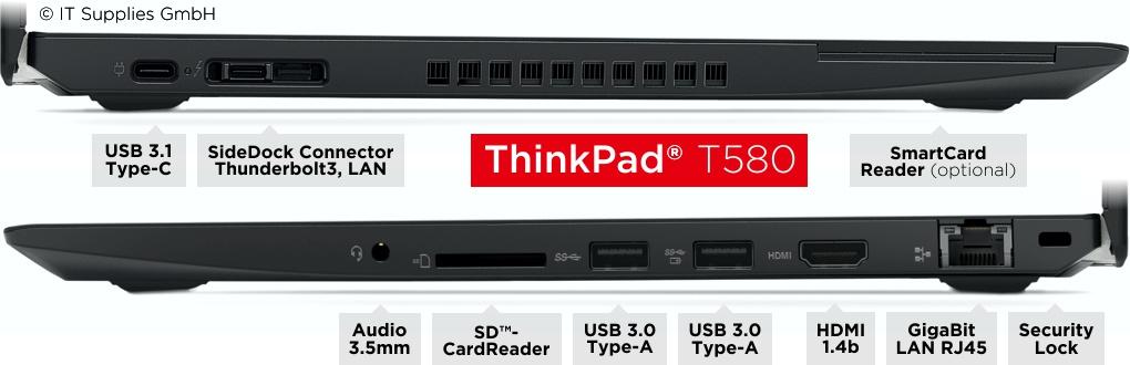 Anschlüsse des Lenovo ThinkPad® T580